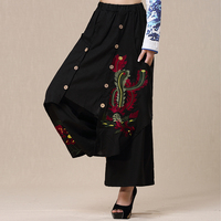 Mexico style vintage long army green black embroidery buttons wide leg pant for women long ethnic original pant trousers
