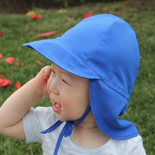 71051610 Children Summer Hat Protection Outdoor Beach Hat Neck Ear Cover Flap Cap  Adjustable Drawstring Cap Boys Girls Sun Hat