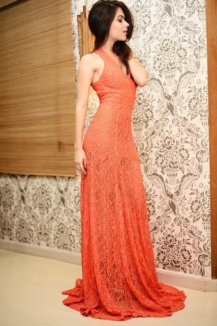 On Sale Custom Halter Orange Evening Dresses Lace Designer Floor ...