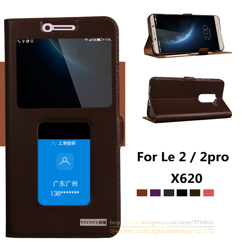 For Letv 2 Le2 X620 Top Quality Natural Genuine Leather Window Magnet Flip Stand Cover Case