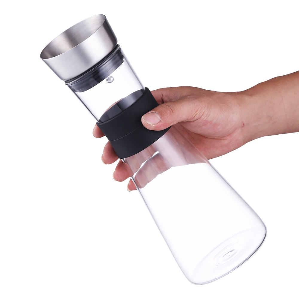 1000ML Glass Water Kettle with stainless steel Tea Infuser Transparent Water Bottle Fruit Glass Drinking Water coffee Tumbler in Water Bottles from Home Garden