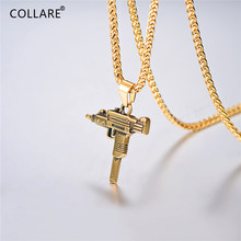 Collare UZI GUN Necklace Men 316L Stainless Steel Weapon Jewelry Black Color Hippie Men Bike Military Machine Necklace P710(China)