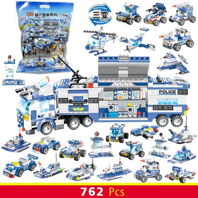City Police Series 762pcs  Building Blocks Truck Car Bricks Compatible Major Brands Boys Friends Figures Kids Toys for Children