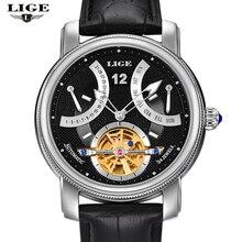 LIGE Man watch Luxury Brand Fashion Casual Tourbillon clock Men Gold Wristwatches automatic Mechanical Watch 5 Color Stylish
