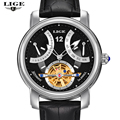 LIGE Man watch Luxury Brand Fashion Casual Tourbillon clock Men Gold Wristwatches automatic Mechanical Watch 5 Color Stylish