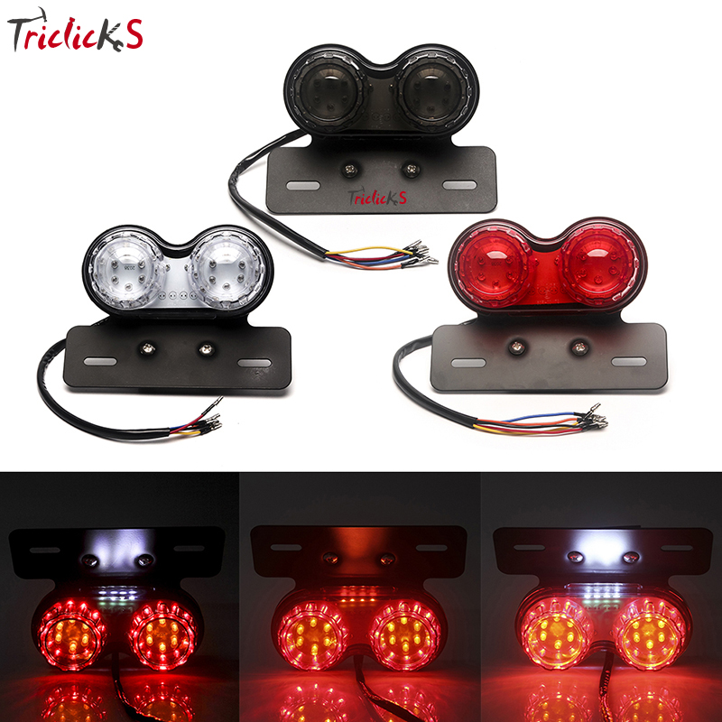 Triclicks Motorcycle LED Twin Dual Tail Turn Signal Light Brake License Plate Lights Integrated For Bobber Chopper Cafe ATV Bike