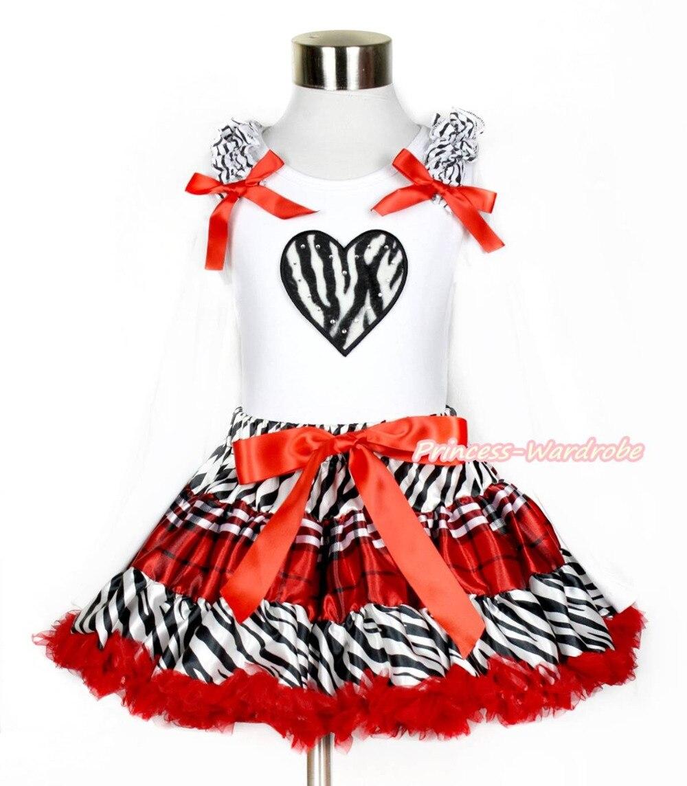 Valentine XMAS Zebra Heart White Tank Top Zebra Red Black Plaid Girl Skirt 1-8Y MAPSA0212 xmas red orange yellow black roses brown top baby girl pettiskirt outfit 1 8y mapsa0038
