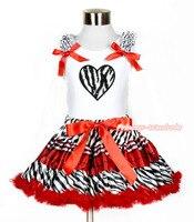 noël cœur valentine zèbre débardeur blanc rouge à carreaux noirs zèbre jupe fille 1-8y mapsa0212