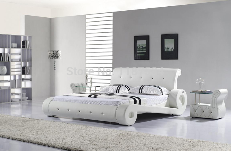 comfortable bed PU+PVC modern soft bed leather soft bed large size bed-C327 ...