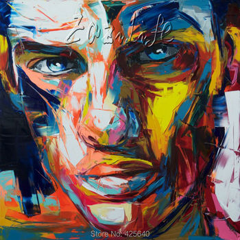 Palette knife painting portrait Palette knife Face Oil painting Impasto figure on canvas Hand painted Francoise Nielly 13-25