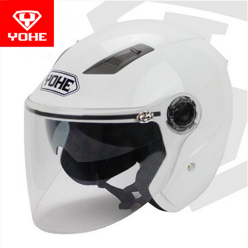2017 Summer New YOHE Double lens motorcycle helmet YH-837-R half Face motorbike helmets made of ABS and PC Visor lens 9 colors