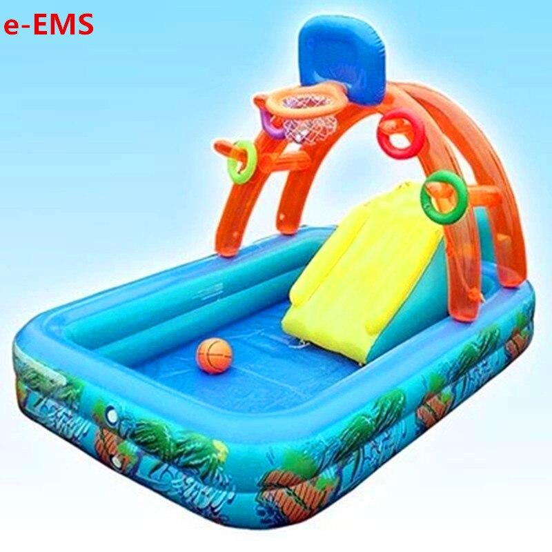 Basket gonfiabile Con Piscina Per Bambini Piscina di Acqua Nebulizzata Giochi Diapositiva Piscine Per Bambini Parco di Divertimenti G2056