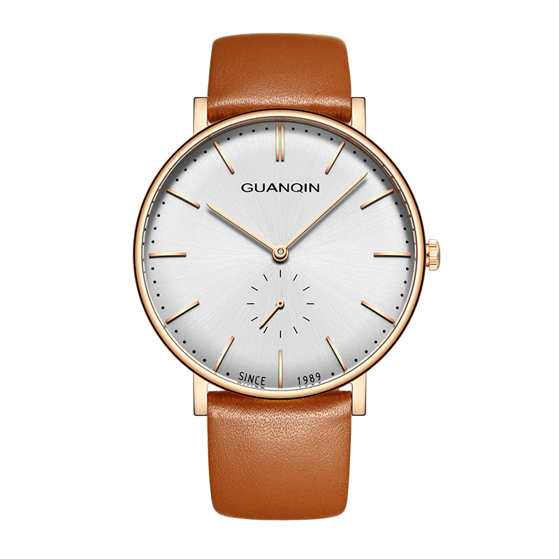 GUANQIN GQ19100 watches men luxury brand relogio masculino Simple Design Men's Fashion Casual Leather Ultra Thin Quartz Watch 2017 mens watches top brand guanqin leather strap casual watches simple ultra thin men quartz watch male clock relogio masculino