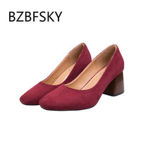 BZBFSKY women's shoes new coarse heeled shoes women's shallow pure color square head with red bottom high heels zapatos de mujer