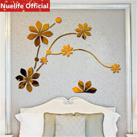 Chinese style creative flower vine mirror stickers wedding room living room TV background wall decoration wall stickers N4