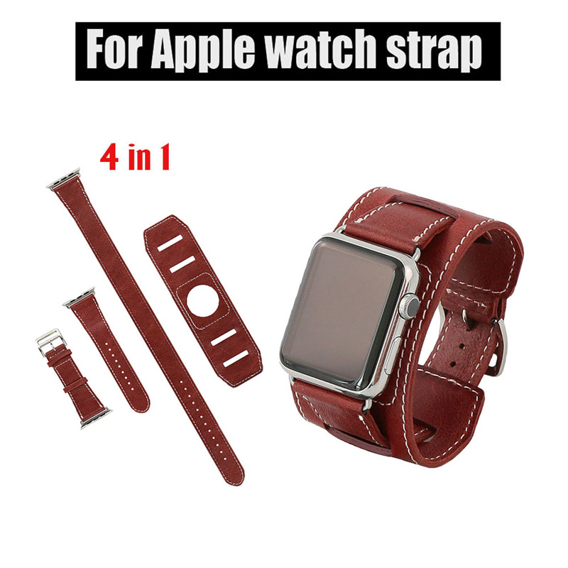 ФОТО Hot Men and women 4 in1 Genuine Leather watch Strap 38mm 42mm WatchBands for apple watch band 1:1 Original leather strap whosele