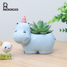 Roogo Resin Flower Pot Mini Succulent Planters Pot Modern Zebra Animal Flowerpot Garden Cactus Pots Home Decoration Accessories