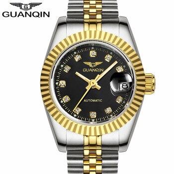 남자 시계 guanqin 브랜드 방수 자동 기계식 시계 남자 골드 컷 아웃 테이블 다이아몬드 럭셔리 브랜드 손목 시계