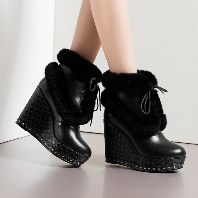 ФОТО 34-39Women's shoes2016 fashion casual shoes slope with real rabbit fur genuine leather boots