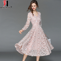 HAGEOFLY 2018 New Summer Sexy V Neck Lace Dress Pink Long Sleeve A Line Slim Midi Floral Party Dresses Vestidos Female