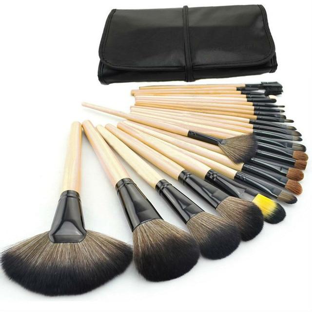 New Professional 24 pcs Maquiagem Escova Make-up Kit de Higiene Pessoal Lã Marca Make Up Brush Set + bolsa em Couro caso