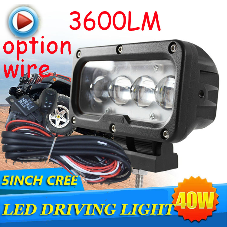 Free DHL/UPS Ship,5 40W 3600LM 10~30V,6500K,LED working light;Free ship!Optional wire;motorcycle light,forklift,tractor light only 48usd pcs 5 5 27w 2400lm 10 30v 6500k led working light free ship optional wire motorcycle light forklift tractor light