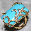 Sky blue stone Ring sexy woman's jewelry zircon with flashing Gold Plated .pebble 101 grain. 1 Turkey grain  ALW1839