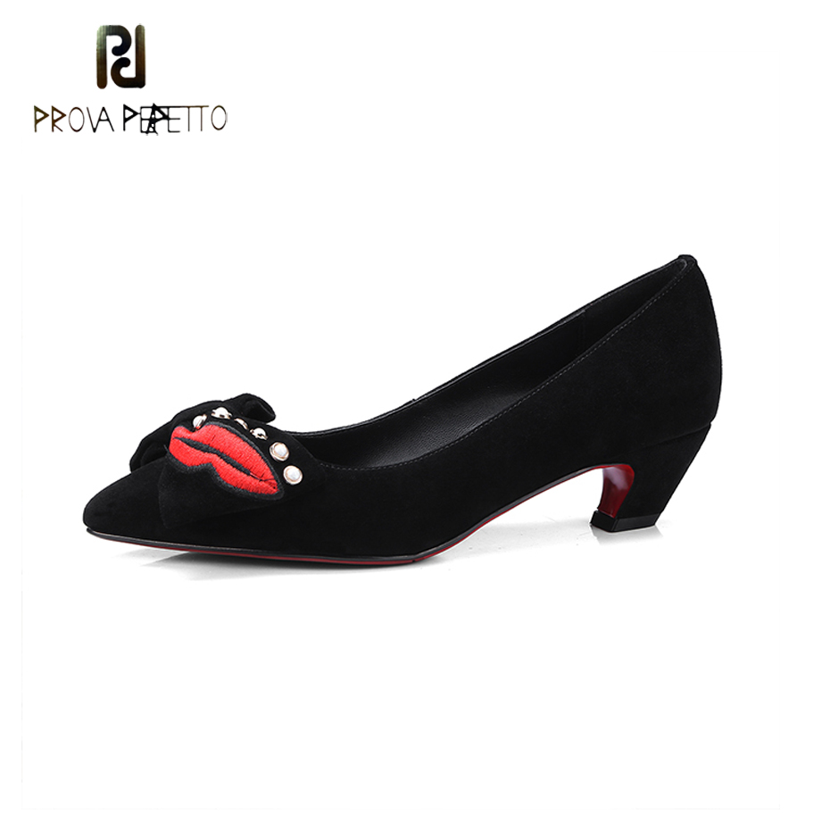 Prova Perfetto Sweet Bowtie Suede Leather Women Pumps Red Mouth Decor Med Heel Shoes Pearl Shallow Pointed Toe Fashion Lady Pump 2017 shoes woman fashion sweet bowtie pointed toe sexy women party shallow mouth side hollow women thin high heel shoes