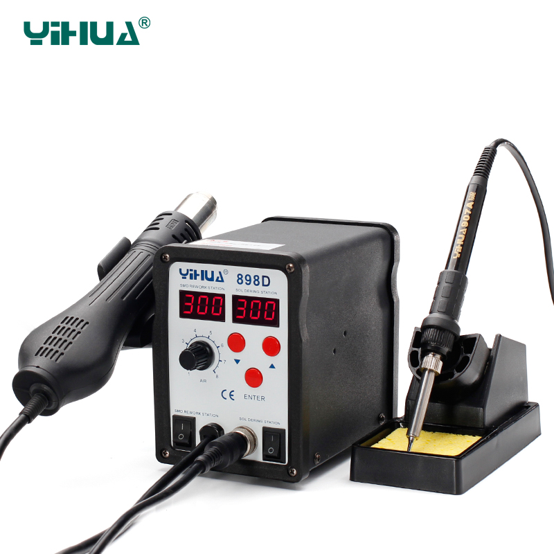 Double LED Digital Display Soldering Iron Rework Station YIHUA 898D SMD Hot Air Soldering Station 2 In 1