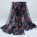 2017 Новый женщины печатные цветочный дизайн хлопок вуаль длинные платки повязка многоцветный мусульманский хиджаб бандана шарфы 007