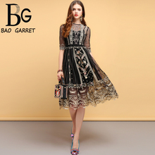 Baogarret Fashion Designer Summer Dress Womens Hollow Out Floral Embroidery Mesh Overlay Elegant Vintage Vacation Dresses