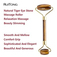 10Pcs/lot Natural Tiger Eye Stone Beauty Slim Massage Roller Facial Neck Arm Massage Tools Muscle Relaxation Massager