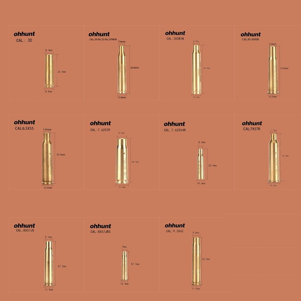 Ohhunt Caccia Bore Sighter Cal 7.62X54R 7.62X39 7X57R 8X57JRS 9.3X62 30-300WIN 6.5X55 CAL. Cartuccia Laser Rosso Boresighter