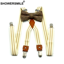 SHOWERSMILE Women Suspenders With Bow Tie Mens Suspenders Braces Beige Striped X Back 4 Clips Fashion Party Unisex Pants Strap striped bow tie split back top