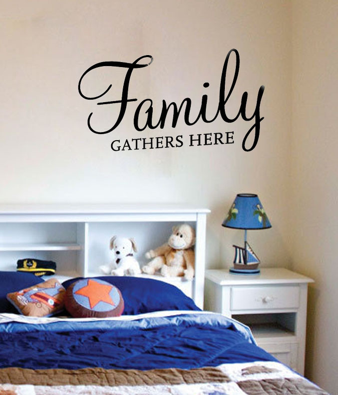 Family Gathers Here Dining Room Wall Decals Vinyl Stickers Home Decor Living Decorative Wallpaper Bedroom