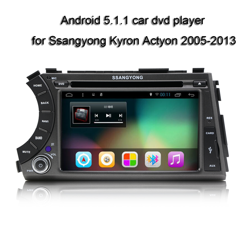 Quad Core 1024*600 Android 5.1.1 Car DVD Player for Ssangyong Kyron Actyon 2005-2013 1.6G CPU 3G / 4G WIFI Radio GPS mydean 3158 1 для ssangyong kyron 2005 actyon sports 2012