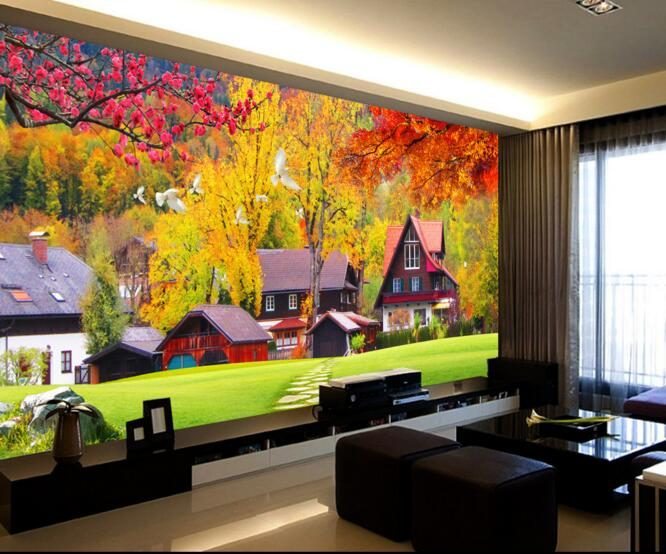 Painting Supplies & Wall Treatments Custom Photo 3d Wallpaper Non-woven Mural Wall Sticker Resort Pool Wood Lounge Chair Painting 3d Wall Room Murals Wallpaper