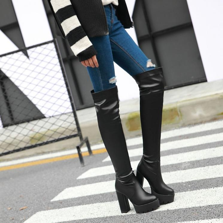 ФОТО VAMOLASC New Women Autumn Winter Warm Leather Over the Knee Boots Square High Heel Boots Platform Women Shoes Plus Size 34-43