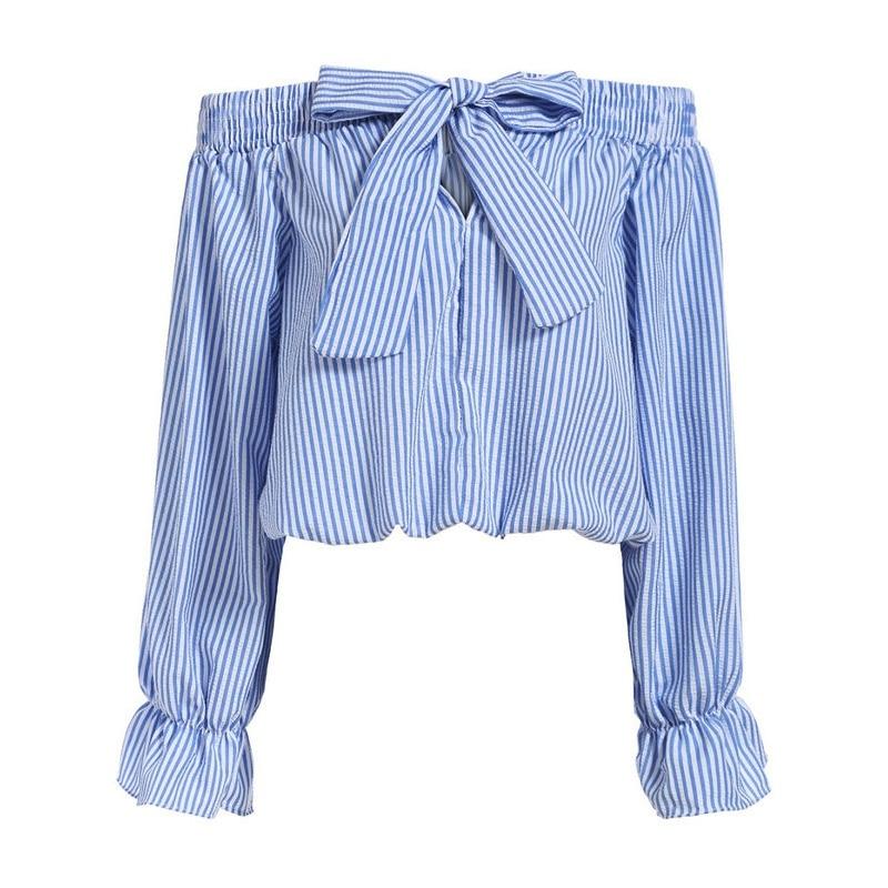 Summer Vogue Women Off The Shoulder Tops Bow Vertical Striped Long Sleeve Slash Neck Blue Crop Tops
