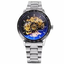 WINNER Luxury Men Auto Skeleton Mechanical Watch Self Winding Stainless Steel Strap Steampunk Montre Homme Wrist