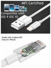Ugreen 8 контактный кабель mfi сертифицированный 25 см 50 см 1 m 2.1a для iphone 7 6s 6 6 плюс 5 5S 5c ipad зарядное устройство кабель оригинальный подходит ios10
