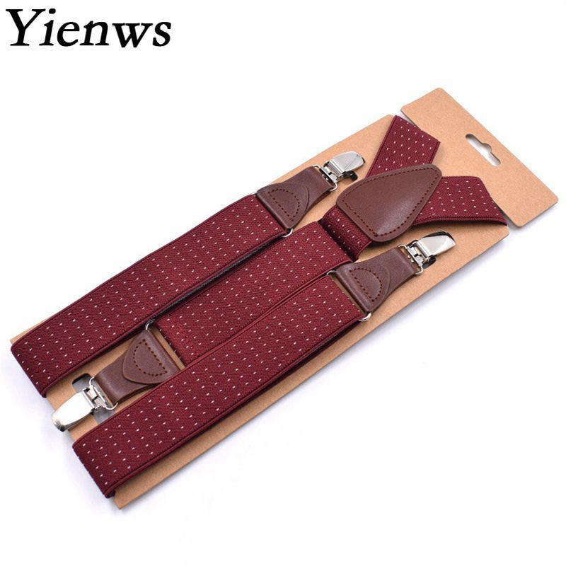 Yienws Suspensorio Mens Suspenders Leisure Commercial Style Trousers Brace Strap Navy Black Burgundy Dot Bretels 120cm YiA044