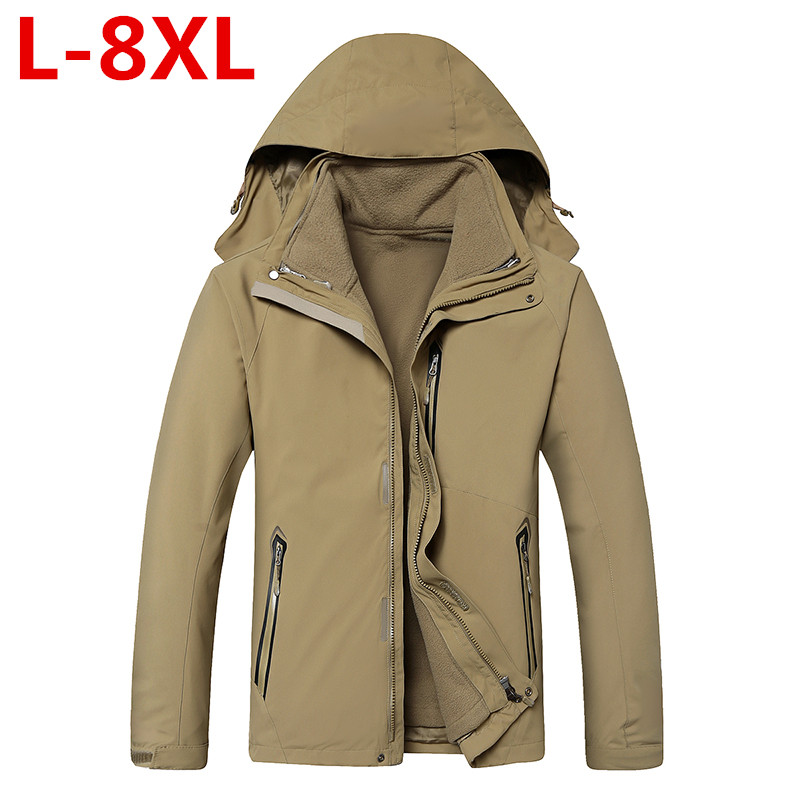 new large size 8XL 7XL 6XL Waterproof Winter Jacket Men Warm 2 in 1 Parkas Windproof Detachable Hood Winter Coat large big size men hiking jackets big size 5xl 6xl 7xl 8xl soft shell outdoors jackets thin breathable detachable hood climbing camping coat