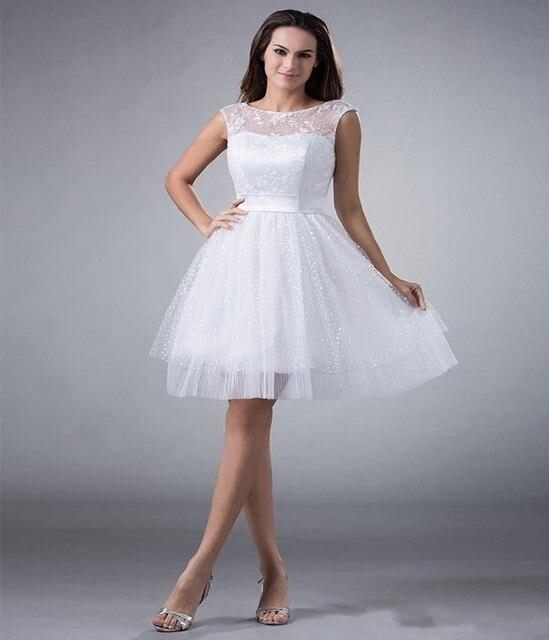 c8922cc76493 Short Aline White Lace Tulle Wedding Dresses Graduation Knee Length Little White  Dresses Open Back Sexy Wedding Dresses
