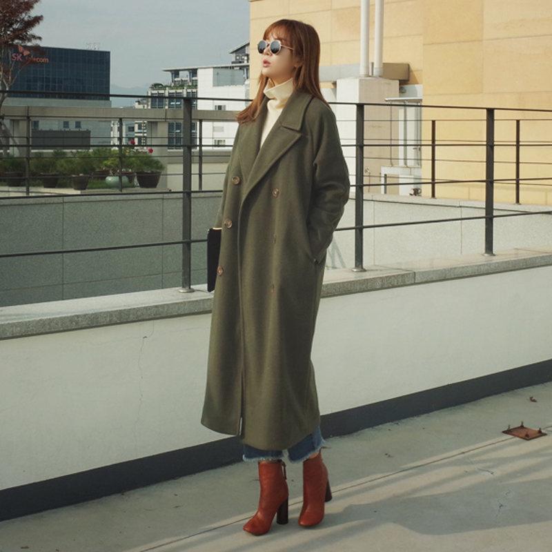 Nuovo Stile Vintage Bozzolo Cappotto Di Lana Invernale Donne X-Lungo Più di Cotone Addensare Maxi Cappotti di Lana Cappotto Parka Manteau Femme C3593