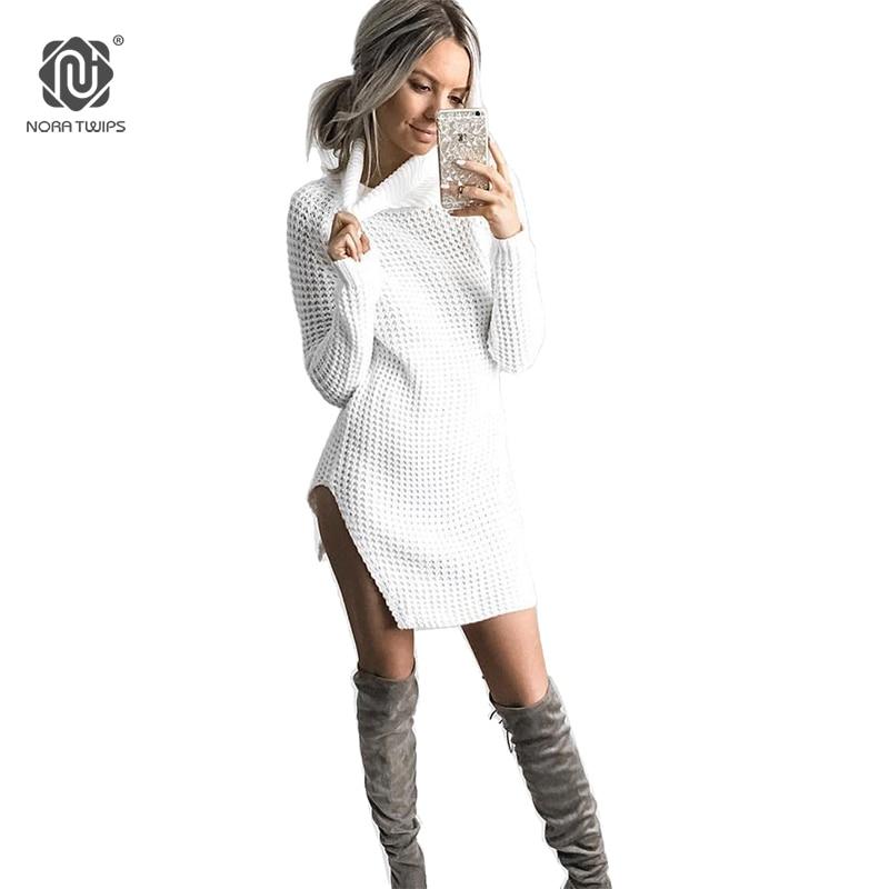NORA TWIPS 2017 Women Winter Fashion Turtleneck Long Sweaters vodolazka Sexy Open Fork Solid Christmas Sweater For Women (S-XL)
