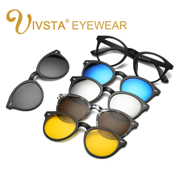 IVSTA Buy one get 5 Magnetic Clip Sunglasses Women Glasses with Magnetic Clip on Sunglasses Cat eye Polarized 2205 Reading Frame