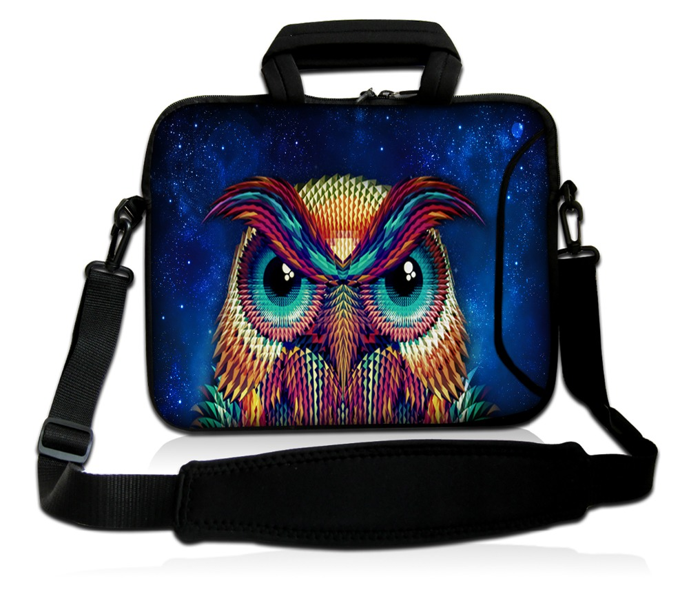 17 17.3 inch Colored owl pattern neoprene laptop shoulder bag case pouch notebook PC bags with shoulder straps for men women