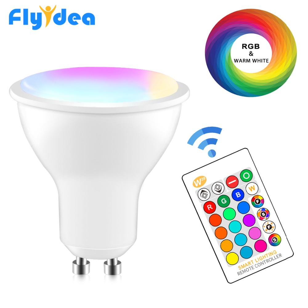 GU10 Magic LED spot light 8W RGB+White Smart bulb Dimmable+IR Control 16 color Bedroom Decoration color changing lamp 220V 110V