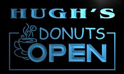 x0254-tm Hughs Donuts Open Custom Personalized Name Neon Sign Wholesale Dropshipping On/Off Switch 7 Colors DHL